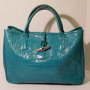 Longchamps croco leather tote